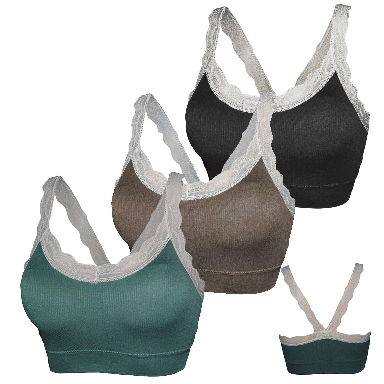 Glamexx24 Damen Seamless 3er Strech  Bra Ohne Buegel Push up Yoga Sports BH Top